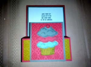 """Not a very clear picture here must have missed it in editing but you can see the most of the detail in this step card. It too reflects the new colours and products from Stampin' Ups new catalog. The verse on the card actually reads """"Hope your day stacks up to be one good thing on top of another"""" another stamp from """"The sprinkles of life stamp set. With 26 stamps to choose from in this set, the combinations are endless."""